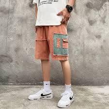 【IF】<b>Summer</b> loose retro casual <b>shorts men's</b> fashion color contrast ...