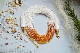 Wedding multistrand <b>seed bead necklace</b>, Beaded Ladies <b>Necklace</b> ...