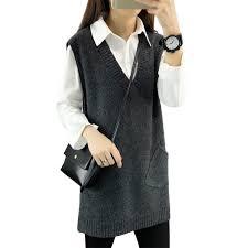 Women Wool vest sweater long pullover <b>2019 spring new women</b> ...