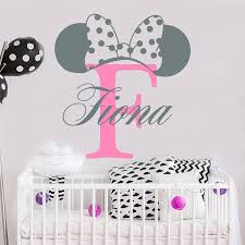 <b>YOYOYU</b> Minnie Mouse Ears <b>Personalised</b> Girl Name <b>Vinyl Wall</b> ...