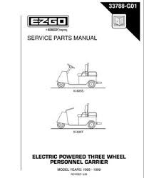 e z go golf cart utility genuine e z go parts and accessories 1995 1999 service parts manual for e z go electric powered 3 wheel personnel carriers