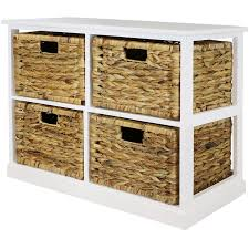 white storage unit wicker: hartleys x white wood home storage unit  wicker drawer baskets chest cabinet