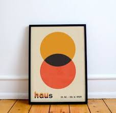 Bauhaus Style <b>Minimalist Modern Geometric Abstract Wall</b> Art Print ...