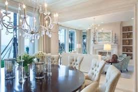 room glass table crystal chandelier white