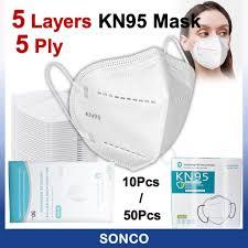 10Pcs / 50Pcs KN95 Protective <b>5</b>-<b>ply 5 Layer Respirator Disposable</b> ...