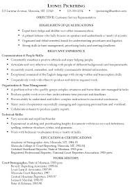 Resume Examples  Resume Example For Customer Service Representative With Highlight Qualifications And Relevant Experience In     Rufoot Resumes  Esay  and Templates