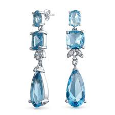 Statement Aqua BlueTeardrop CZ Earrings <b>Simulated</b> Aquamarine ...