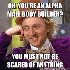 Oh, you're an alpha male body builder? you must not be scared of ... via Relatably.com