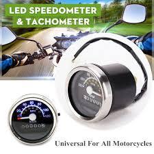12V Universal <b>Motorcycle Speedometer Odometer Double Mileage</b> ...