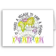 card with people supporting a globe showing it takes a village to save planet