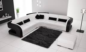 free shipping classic black and white genuine leather l shaped corner sofas for living room modern black sofa set office