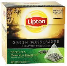 <b>Чай зеленый Lipton Green</b> Gunpowder в пирамидках — купить по ...