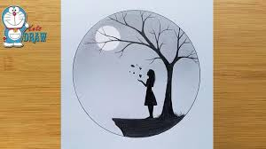 How to <b>draw</b> a girl with Butterfly in Moonlight for beginners || <b>Pencil</b> ...