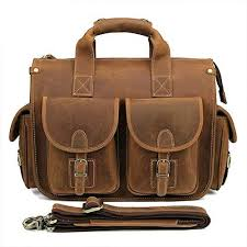 AIYAMAYA <b>Leather Retro Leather</b> Handbag for Men and Women for ...