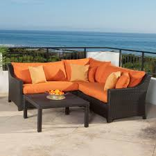 patio couch set deco  piece patio sectional seating set with tikka orange cushions