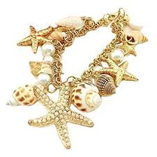 Bib Statement Bracelet With Various Sea Objects - <b>Shell Starfish</b> ...