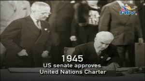 「the U.S. Senate approves the charter establishing the United Nations.」の画像検索結果