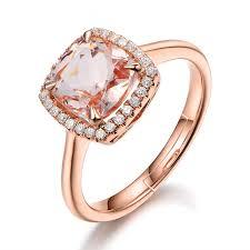 <b>Natural Square</b> Morganite Ring For Women 14K Rose Gold Color ...