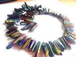 Beskhk Rainbow Aura <b>Titanium Coated Crystal Points</b> Quartz Rough ...