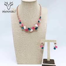 <b>Viennois</b> Rose Gold Color <b>Necklace</b> Set For <b>Women</b> Geometric ...