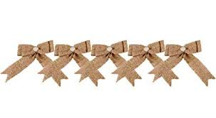 Gold Powder Burlap Christmas Bow 9.5