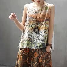 QPFJQD Chinese Style Women Summer Floral Skirt <b>Loose</b> Size ...