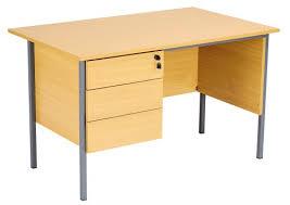 Eco 18 <b>Rectangular Desk with</b> Single 3 Drawer Pedestal - Oak ...