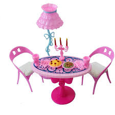 1 set vintage table chairs for dolls furniture dining sets toys for girl kid pink for barbie furniture dollhouse