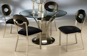 round dining table base: dining room round black glass dining table on chrome base plus chrome chairs with black