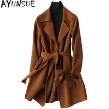 AYUNSUE <b>2019</b> Casual <b>Wool Coat</b> Female Autumn Winter Double ...