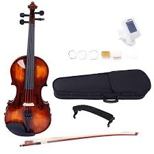 Glarry Classic <b>Full Size 4/4 Solid</b> Wood Violin with Electronic Tuner ...