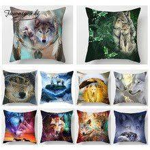 <b>Fuwatacchi</b> Animal 3D <b>Cushion</b> Cover Polyester Wolf Dog Tiger Fox ...