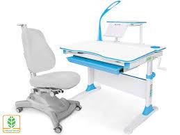 Парта детская <b>Evo</b>-<b>30</b> с креслом Y-418 G голубая с <b>лампой</b> ...