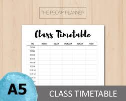 weekly timetable printable class timetable planner insert a5 size academic student essential daily weekly filofax kikki k planners