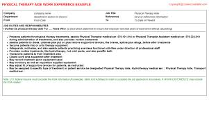 therapy aide cv work experience   physical therapy aide