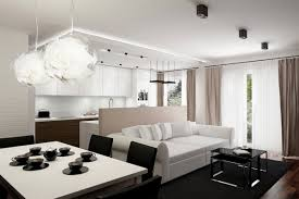 astonishing glass pendant lamps in modern apartment decor with small open plan layout amazing modern living