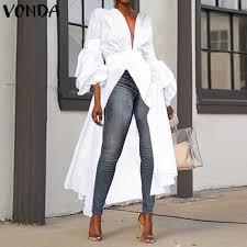 <b>2021 VONDA Women</b> Autumn Long Sleeve Fashion Long Shirt ...