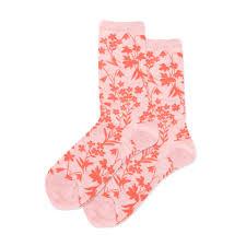 Hotsox Women's <b>Pink Floral Pattern</b> Crew Socks