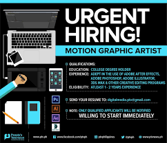 we    re hiring  motion graphic artist  send ur resume to    we    re hiring  motion graphic artist  send ur resume to digitalmedia ptv