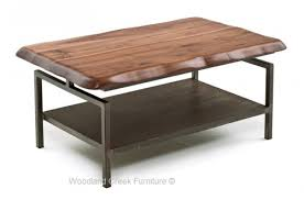 contemporary coffee table live edge coffee table with metal base chic industrial furniture