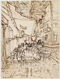looking for leonardo in van gogh s cafe terrace at night vincent van gogh cafatildecopy terrace at night 1888 reed pen and ink over pencil on laid paper 65 4 x 47 1 cm vincent van gogh