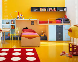 themed kids room designs cool yellow: bedroomstylish kids room decoration with cool study desk under bunk bed idea awesome yellow