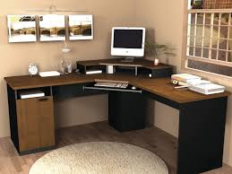 pretty brown wooden l shaped desk by sauder furniture on wooden floor for home office decor chic shaped home office