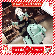 <b>4pcs Lovely Cute Cat</b> Printed Unisex Canvas Backpack Preppy Chic ...