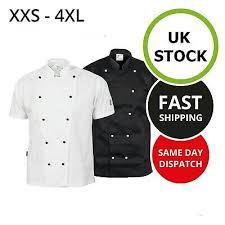 Traditional Women Mens <b>Chef</b> Coat Jacket <b>Short Sleeve</b> Unisex ...