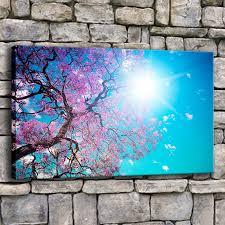 Canvas Printed Painting <b>Wall Art 1 Piece</b> Cherry Blossom Blue Sky ...