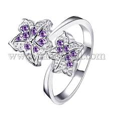 <b>Trendy</b> Leaf Brass <b>Cubic</b> Zirconia Finger Rings, Size 8, <b>Purple</b> ...
