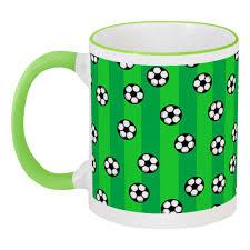 Кружка с цветной ручкой и ободком <b>Футбольные мячи</b> #2617513 ...