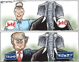 Jeb and Trump by Political Cartoonist Kevin Siers via Relatably.com