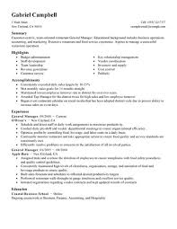 resume for fast food  fast food manager resume   fast food    general manager resume example   restaurant \u bar sample resumes